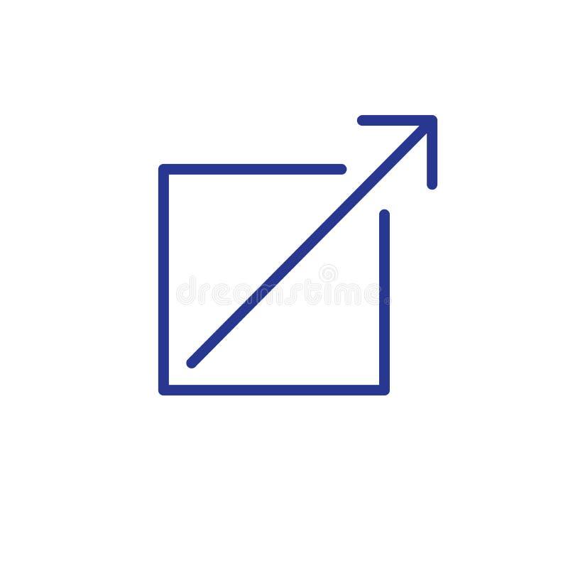 Zewnętrznie połączenia ikona z strzała i pudełkowatym wskazywać ilustracja wektor