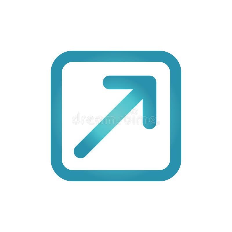 Zewnętrznie połączenia ikona z strzała pokazuje użytkownikowi że opuszczają t ilustracji