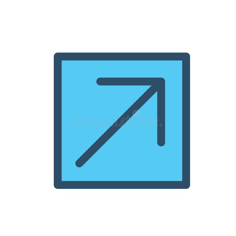 Zewnętrznie połączenia ikona z strzała & pudełko dokąd Ty Znasz Ciebie ` ponowny iść royalty ilustracja