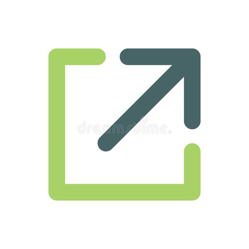 Zewnętrznie połączenia ikona z strzała & pudełko dokąd Ty Znasz Ciebie ` ponowny iść ilustracji