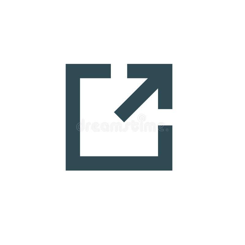 Zewnętrznie połączenia ikona z strzała & pudełkowatym wskazywać ilustracji