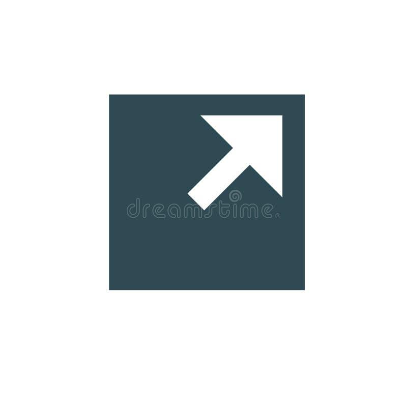 Zewnętrznie połączenia ikona z strzała & pudełkowatym wskazywać royalty ilustracja