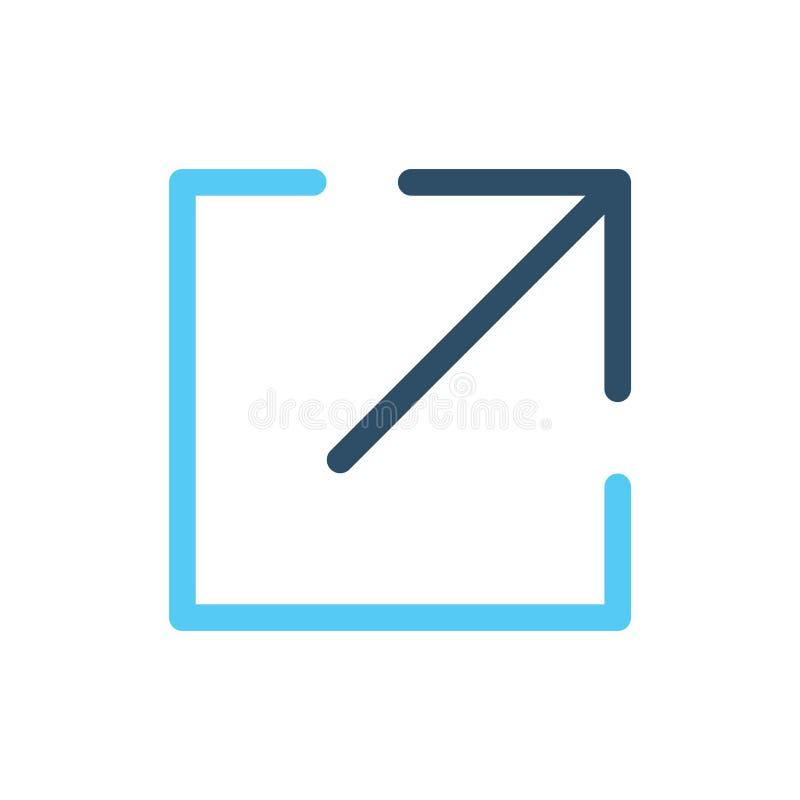 Zewnętrznie połączenia ikony w pudełko & strzała dokąd ` ponowny iść Ty Znasz Ciebie ilustracji