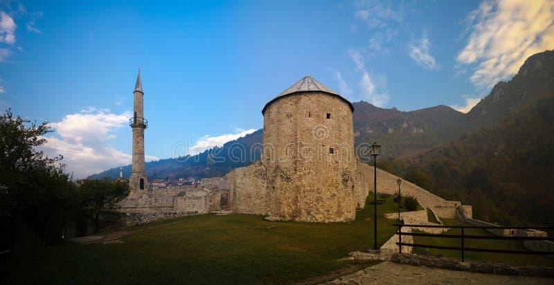 Zewnętrzny panorama widok forteca, Bośnia i Herzegovina Travnik, obrazy stock
