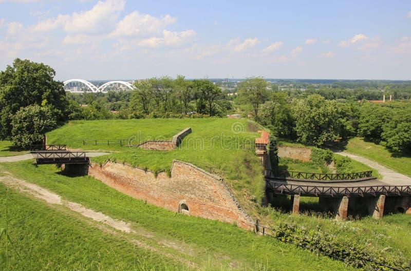 Zewnętrzny strony Petrovaradin forteca z systemem fosy, ramparts i ściany, Novi Sad, Serbia zdjęcie stock