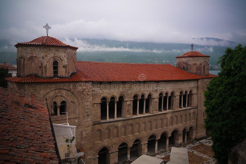 Zewnętrzny widok Świątobliwy Sophia ortodox kościół, Ohrid, Północny Macedonia obrazy stock