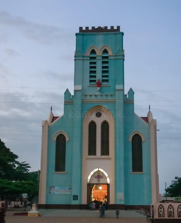 Zewnętrzny widok bazylika Niepokalany poczęcie przy Ouidah, Benin zdjęcie stock