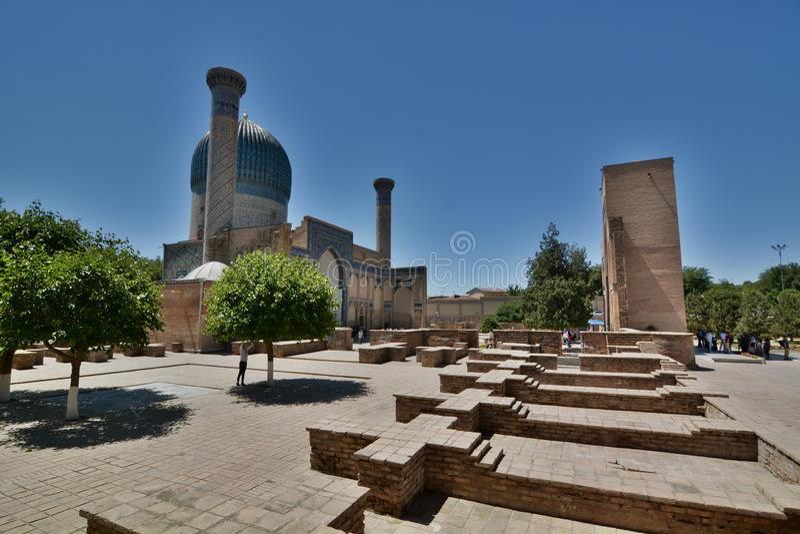 Zewnętrzny widok Gur-e emir Timur mauzoleum samarkand Uzbekistan obrazy royalty free