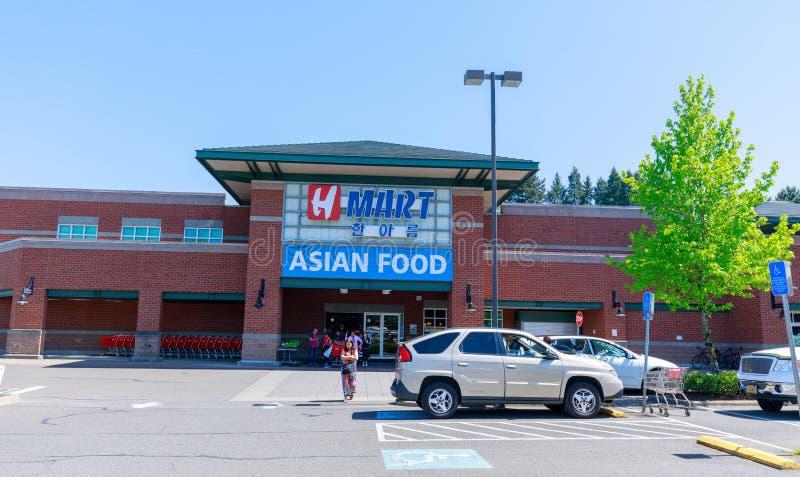 Zewnętrzny widok H hala targowa, Azjatycki jedzenie, Koreański sklep spożywczy w Portland, Oregon zdjęcie stock