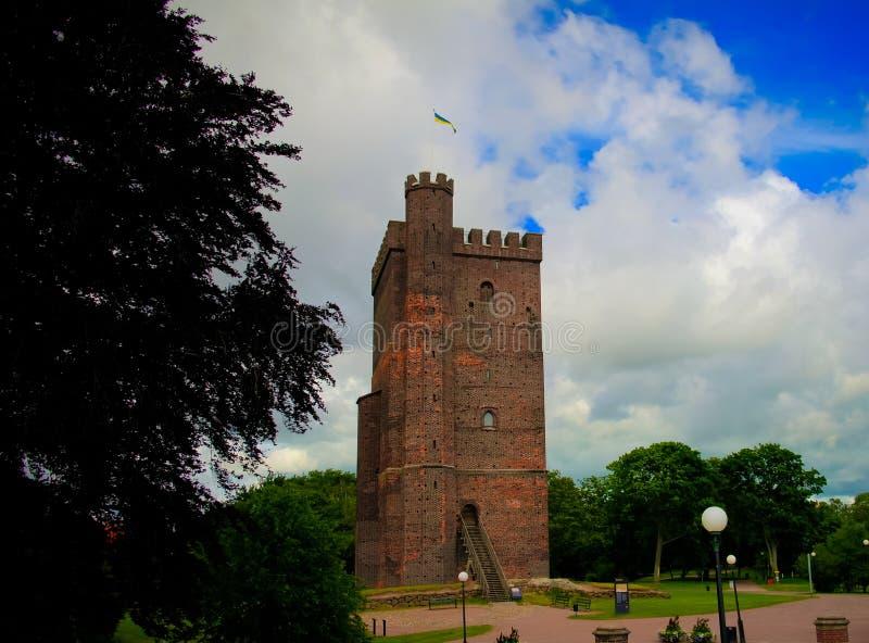 Zewnętrzny widok Karnan Średniowieczny wierza, Helsinborg, Sweden zdjęcia royalty free