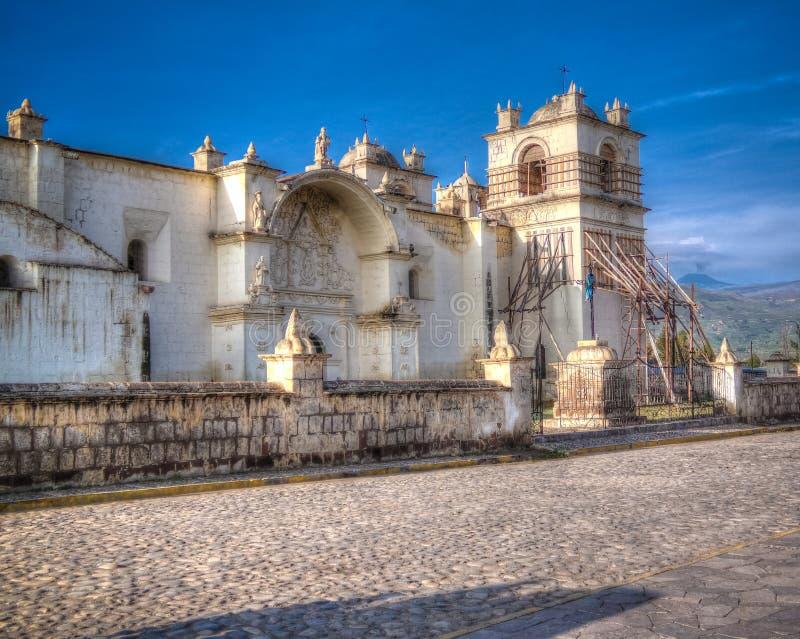 Zewnętrzny widok kościół Niepokalany poczęcie, Yanque, Chivay, Peru zdjęcia royalty free