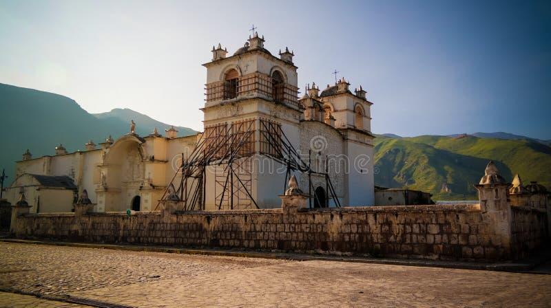 Zewnętrzny widok kościół Niepokalany poczęcie, Yanque, Chivay, Peru zdjęcie royalty free