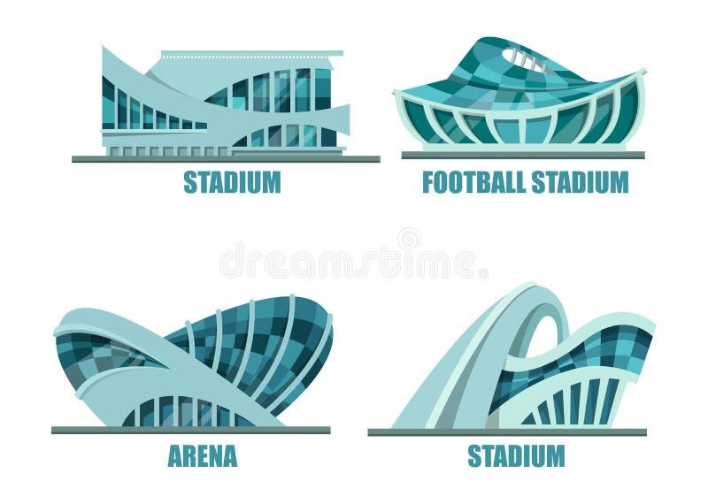 Zewnętrzny widok na piłce nożnej lub stadionie futbolowym ilustracji