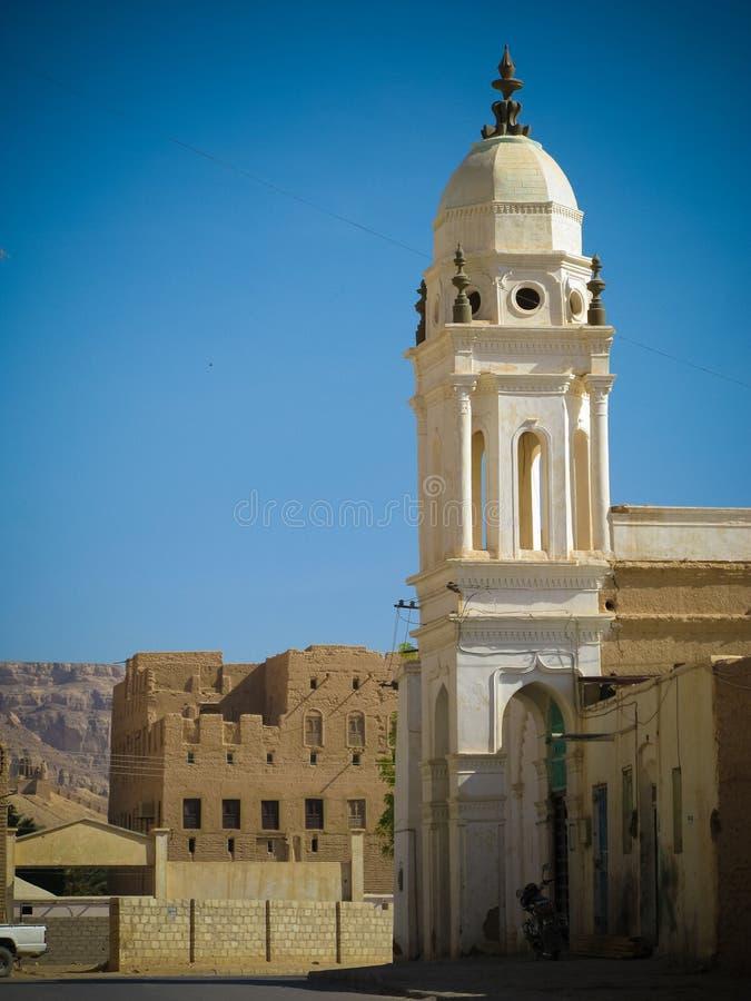 Zewnętrzny widok Omar meczet, Tarim, Hadhramaut, Jemen obraz royalty free