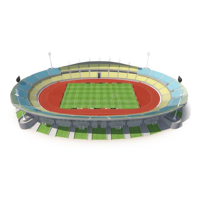 Zewnętrzny widok royal bafokeng stadium w Rustenburg, Południowa Afryka na białej 3D ilustraci ilustracji