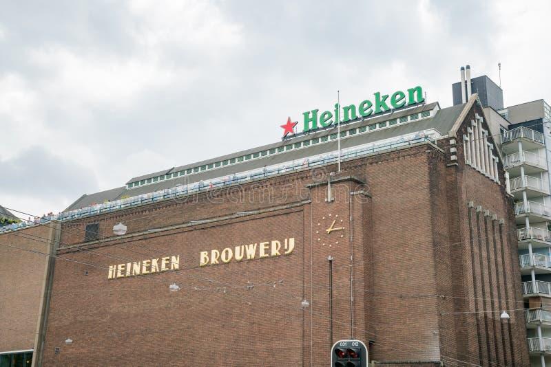 Zewnętrzny widok sławny Heineken doświadczenie Amsterdam zdjęcia royalty free