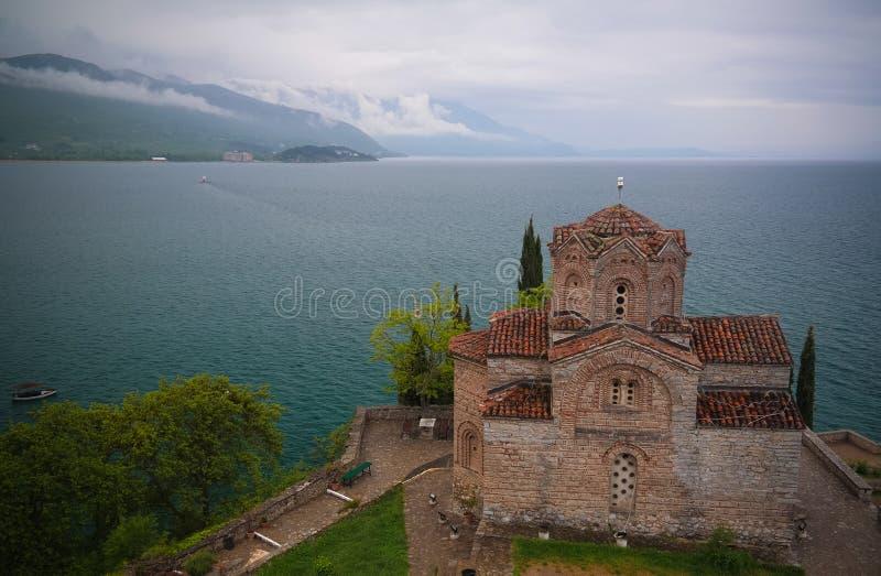 Zewnętrzny widok St John teologa kościół, Ohrid, Północny Macedonia zdjęcie stock
