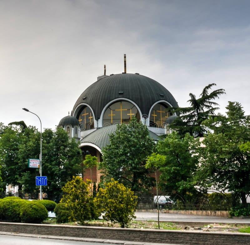 Zewnętrzny widok St Kliment Ogridsky katedra, Skopje, Północny Macedonia zdjęcia stock