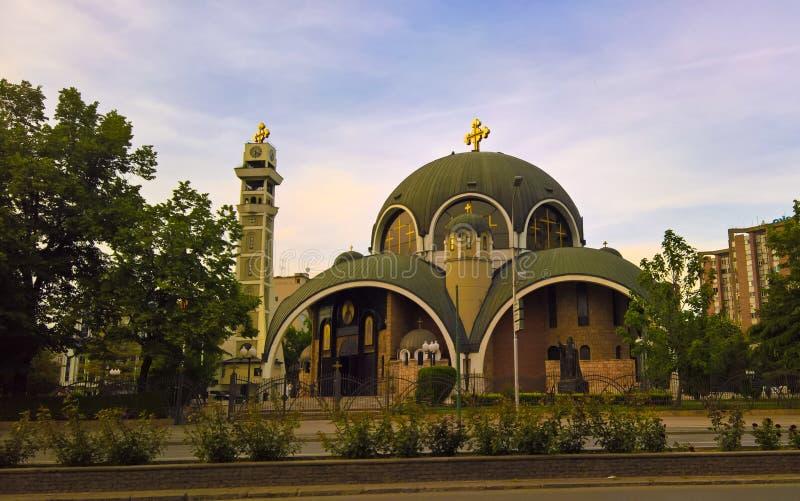 Zewnętrzny widok St Kliment Ohridsky katedra, Skopje, Północny Macedonia zdjęcie royalty free