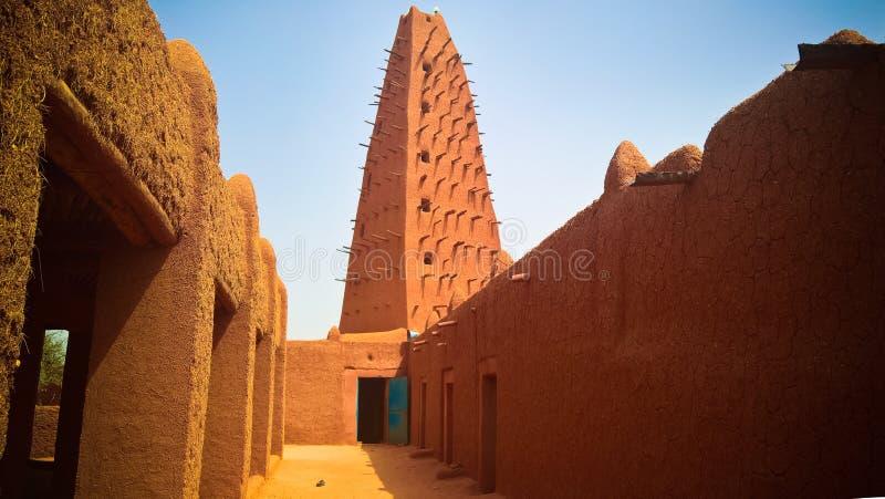 Zewnętrzny widok Uroczysty meczet Agadez, Niger zdjęcie royalty free
