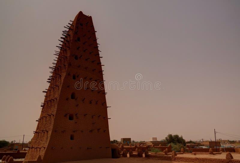 Zewnętrzny widok Uroczysty meczet Agadez, Niger zdjęcie stock