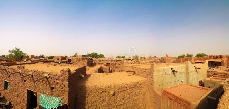Zewnętrzny widok z lotu ptaka Uroczysty meczet Agadez w Niger obraz stock