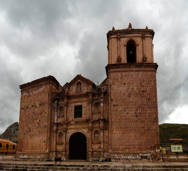 Zewn?trzny widok Iglesia De Santa Isabel de Pucara, Puno, Peru zdjęcia royalty free