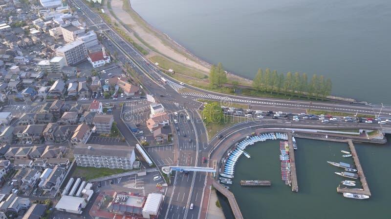 Zeze Traffic Intersection, orilla del lago Biwako en la prefectura de Shiga fotografía de archivo libre de regalías