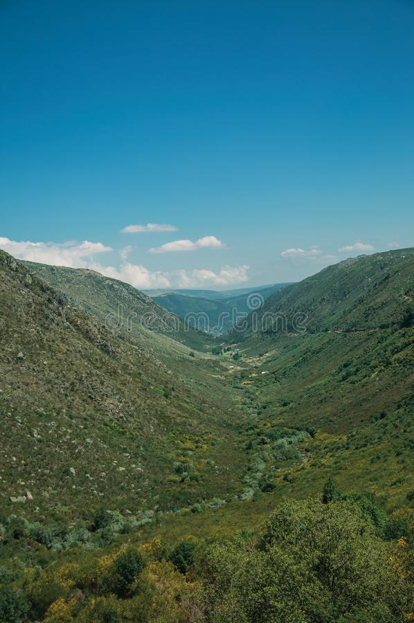 Zezere River valley. A long green canyon formed by glacier thousands of years ago, in a sunny day at Serra da Estrela. The highest mountain range in royalty free stock photos