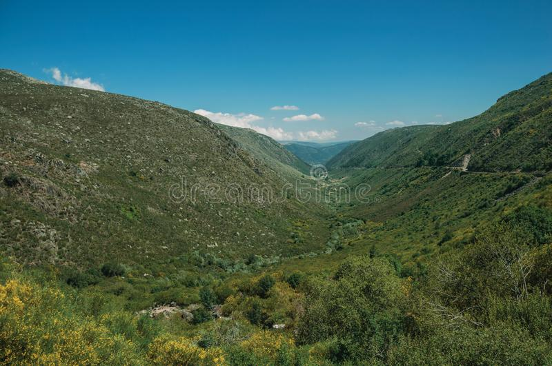 Zezere River valley. A long green canyon formed by glacier thousands of years ago, in a sunny day at Serra da Estrela. The highest mountain range in stock image