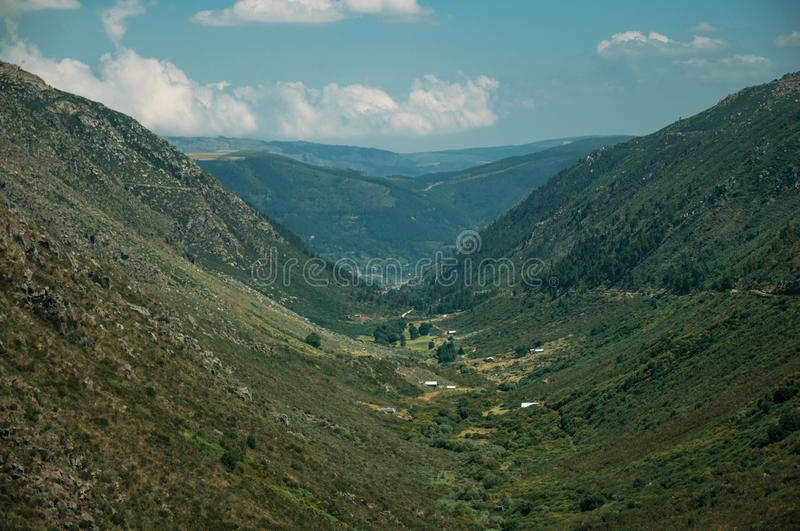 Zezere River valley. A long green canyon formed by glacier thousands of years ago, in a sunny day at Serra da Estrela. The highest mountain range in royalty free stock image