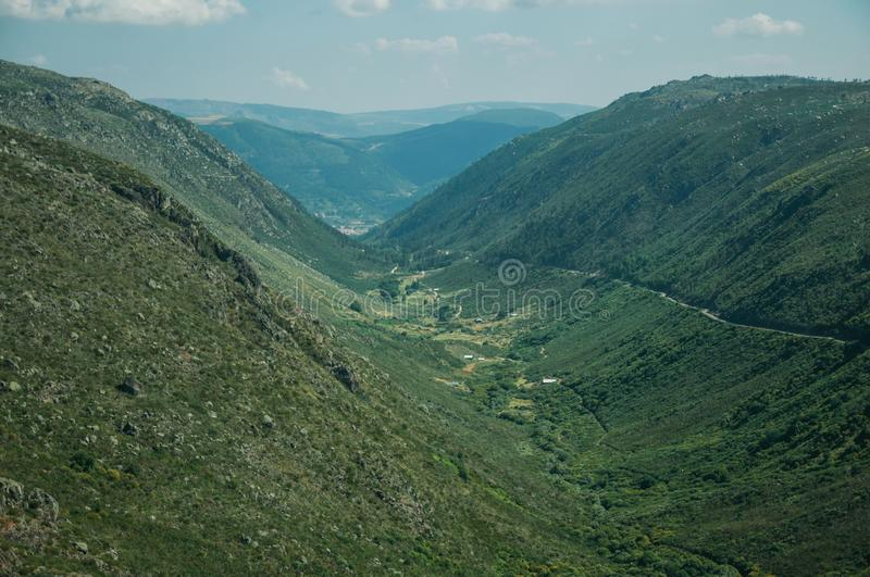 Zezere River valley. A long green canyon formed by glacier thousands of years ago, in a sunny day at the Serra da Estrela. The highest mountain range in royalty free stock photo