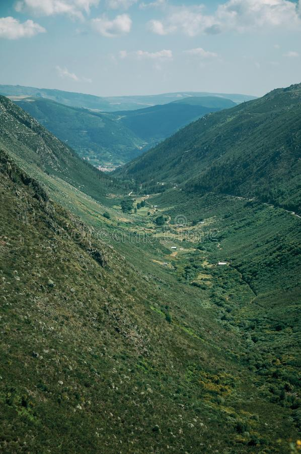 Zezere River valley. A long green canyon formed by glacier thousands of years ago, in a sunny day at the Serra da Estrela. The highest mountain range in stock photography