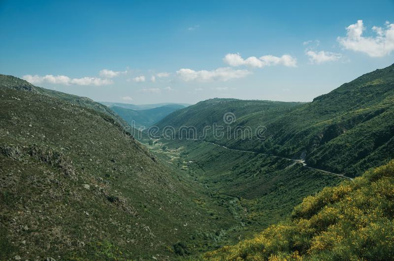 Zezere River valley. A long green canyon formed by glacier thousands of years ago, in a sunny day at the Serra da Estrela. The highest mountain range in royalty free stock photography