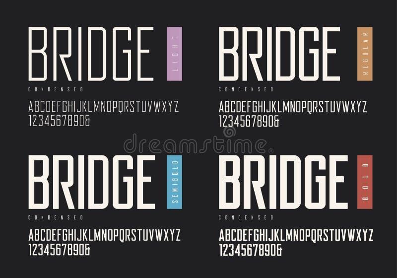 Zgęszczony lekki miarowy semibold śmiały sans serif Wektorowy typefac ilustracja wektor