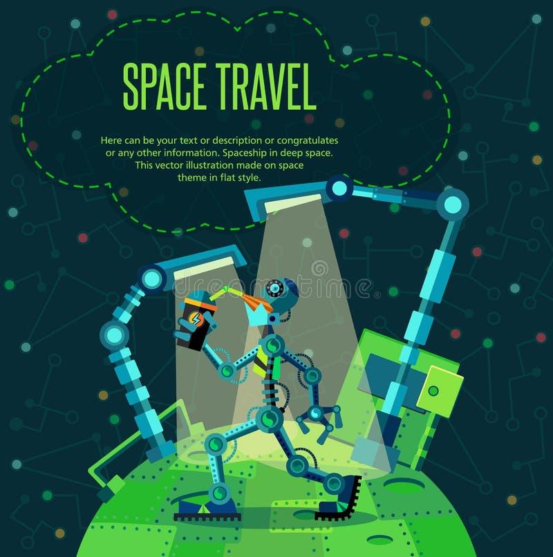Zgłębia przestrzeń Robot planeta ilustracja wektor