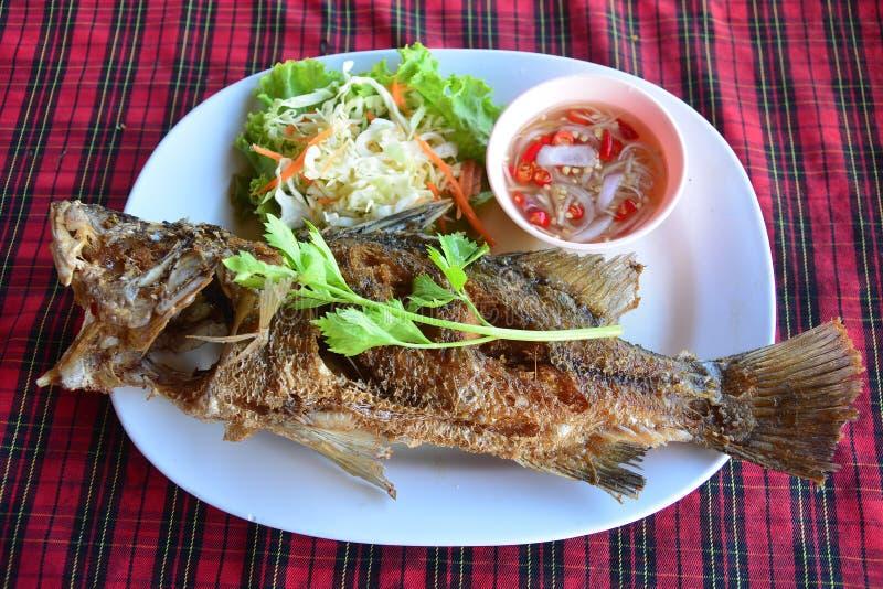 Zgłębiam smażył seabass ryby z korzennym owoce morza kumberlandem, owoce morza Tajlandzki s obrazy stock