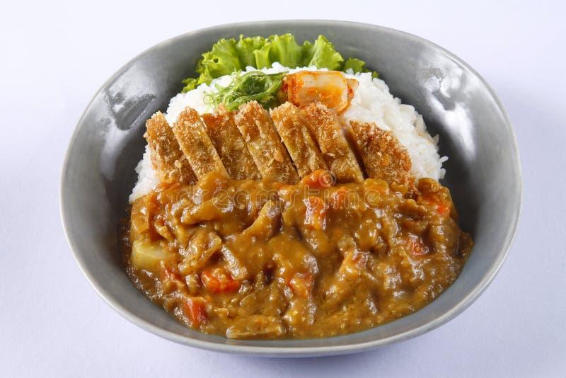 Zgłębiam smażył wieprzowinę z ryż i curry'ego kumberlandem w japońskim stylu - Tonkatsu Kare obraz royalty free