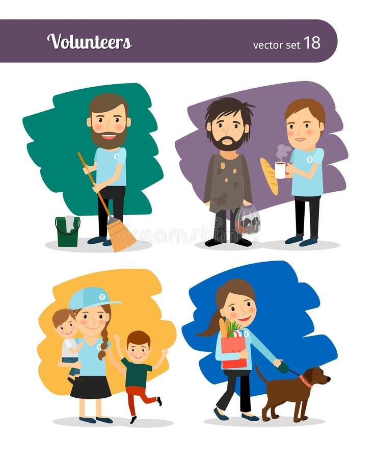 Zgłaszać się na ochotnika charaktery ilustracji