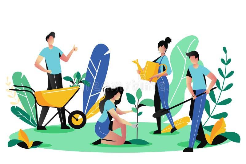 Zgłaszać się na ochotnika, dobroczynność socjalny pojęcie Ochotniczy ludzie zasadzają drzewa w parku, wektorowa ilustracja Ekolog ilustracja wektor
