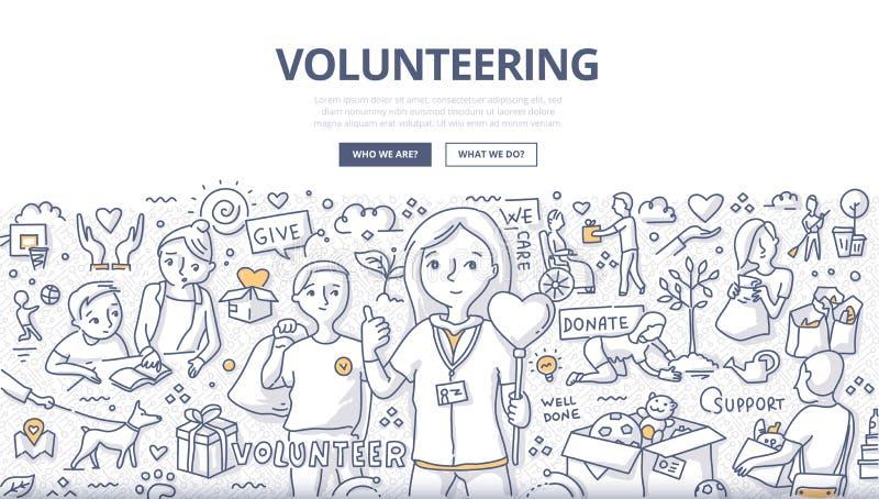 Zgłaszać się na ochotnika Doodle pojęcie ilustracji