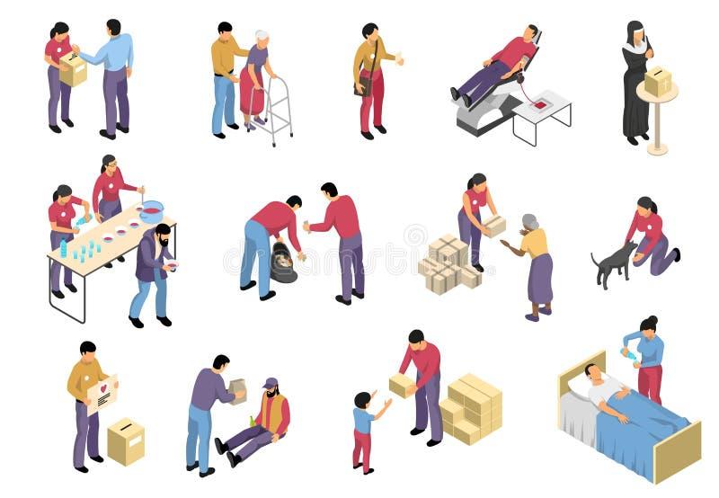 Zgłaszać się na ochotnika I dobroczynności Isometric set ilustracja wektor