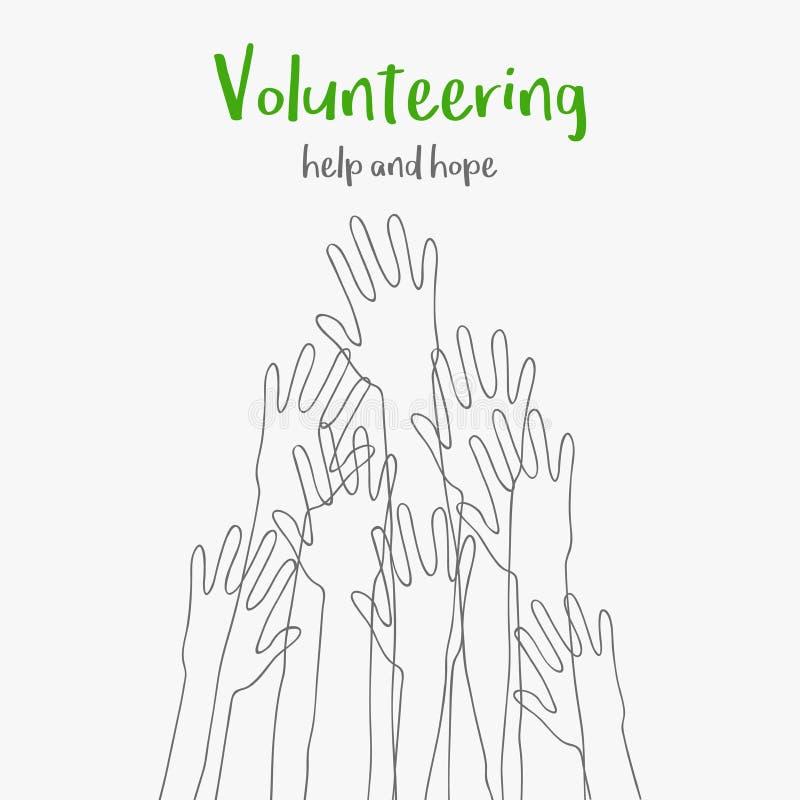 zgłaszać się na ochotnika pojęcie Wiadomości nadzieja i pomoc Sylwetki podnosić w górę ręk Zgłaszać się na ochotnika dobroczynnoś royalty ilustracja