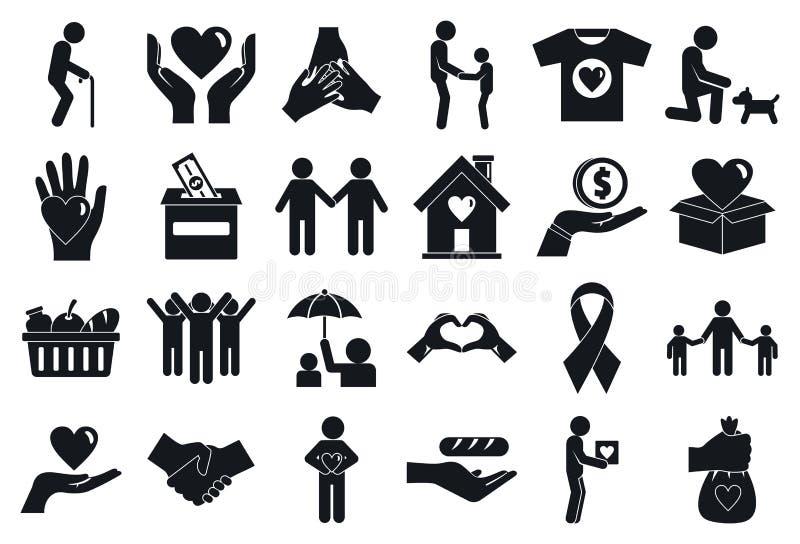 Zgłaszać się na ochotnika pomaga ikony ustawiać, prosty styl royalty ilustracja