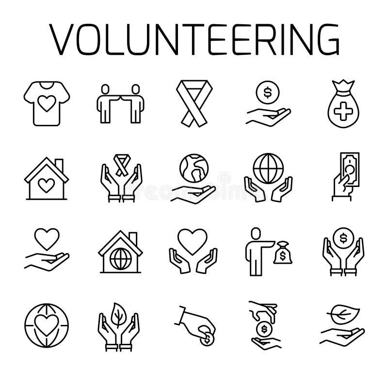 Zgłaszać się na ochotnika powiązanego wektorowego ikona set royalty ilustracja