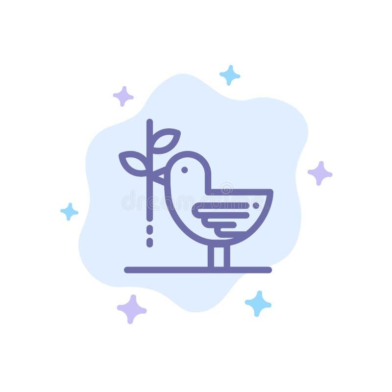 Zgoda, gołąbka, przyjaźń, harmonia, pacyfizm Błękitna ikona na abstrakt chmury tle royalty ilustracja
