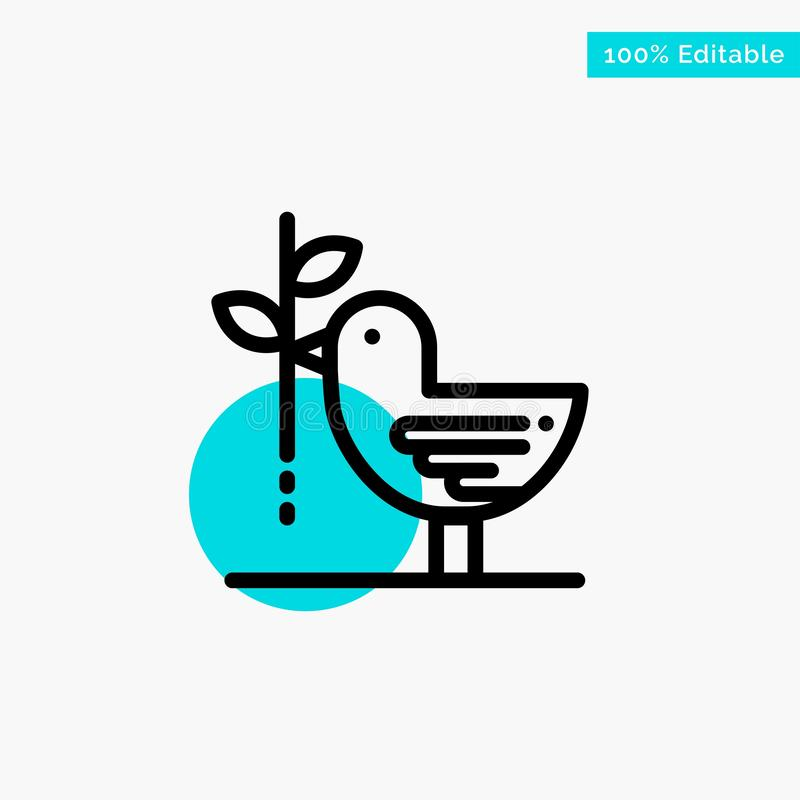 Zgoda, gołąbka, przyjaźń, harmonia, pacyfizm głównej atrakcji okręgu punktu wektoru turkusowa ikona ilustracja wektor