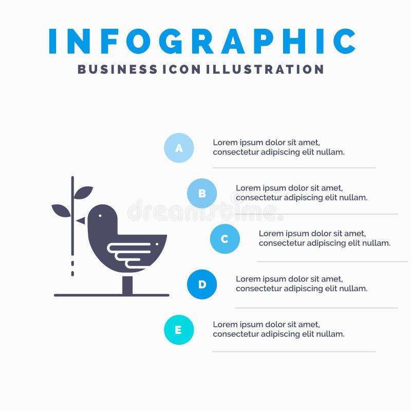 Zgoda, gołąbka, przyjaźń, harmonia, pacyfizm ikony Infographics 5 kroków prezentacji Stały tło royalty ilustracja