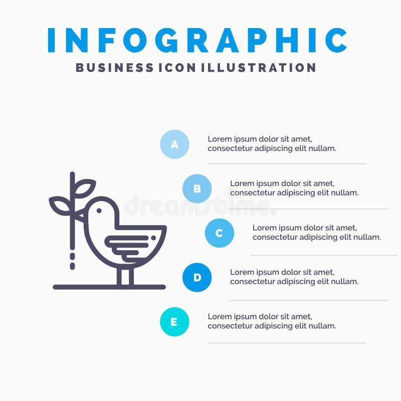 Zgoda, gołąbka, przyjaźń, harmonia, pacyfizm Kreskowa ikona z 5 kroków prezentacji infographics tłem ilustracji
