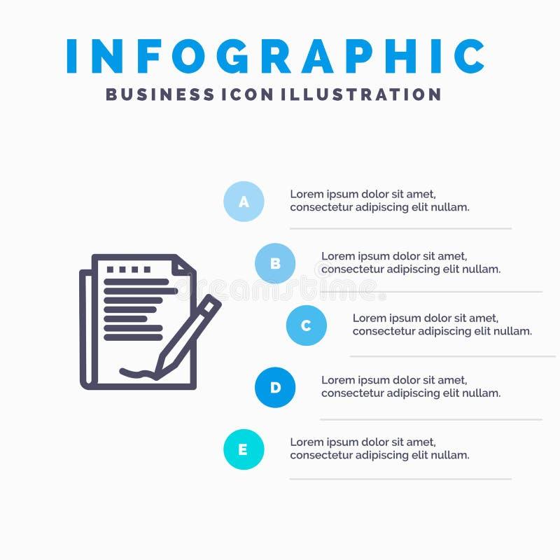 Zgoda, raport, forma, układ, papier Kreskowa ikona z 5 kroków prezentacji infographics tłem ilustracja wektor
